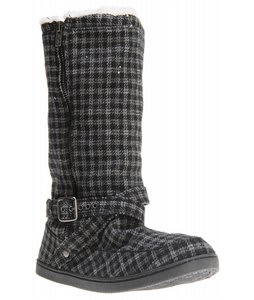 Roxy Hickory Wool Casual Boots Black Wool Plaid