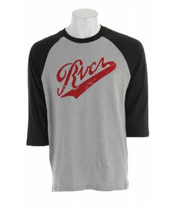 RVCA Pennant Fade 3/4 Sleeve T-Shirt Black/Athletic Heather