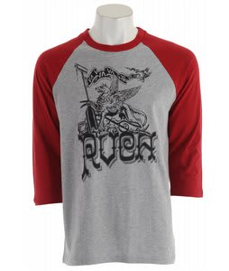 RVCA Griffin 3/4 Sleeve T-Shirt Gray Heather/Red