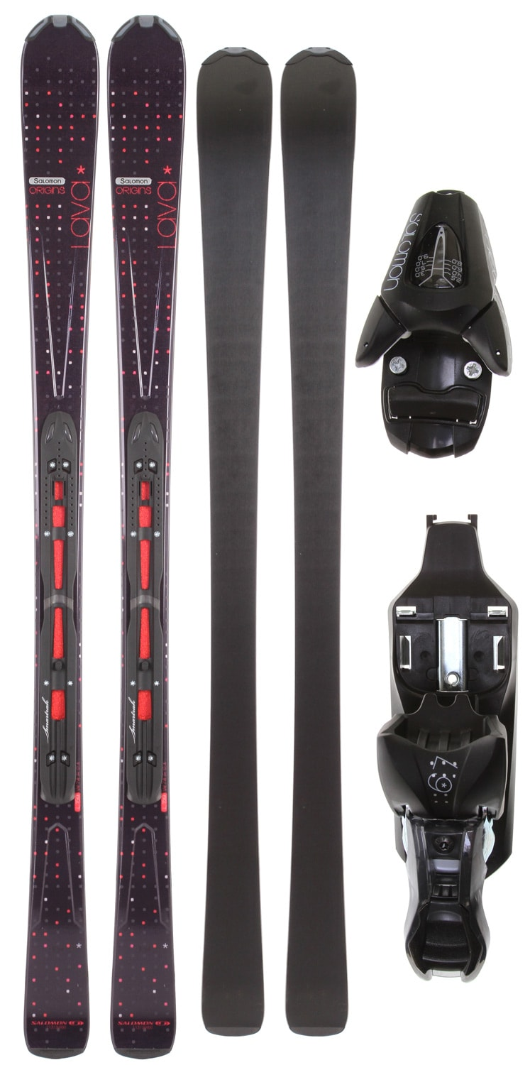 Shop for Salomon Origins Lava Skis Black/Red w/ L9 Bindings B80 - Women's