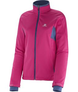 Salomon Active Softshell Cross Country Ski Jacket Daisy Pink/Abyss Blue