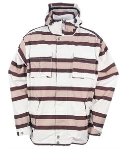 Sessions Winker Stripe Snowboard Jacket White/Khaki Stripe