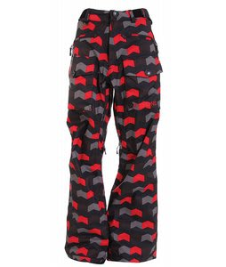 Sessions Fireball Snowboard Pants Black/Red Alert Zig Zag