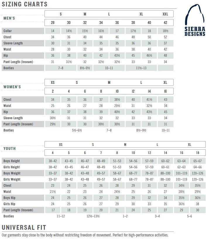 Sierra Designs Size Chart