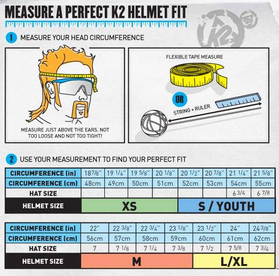 K2 Helmet Sizing Chart
