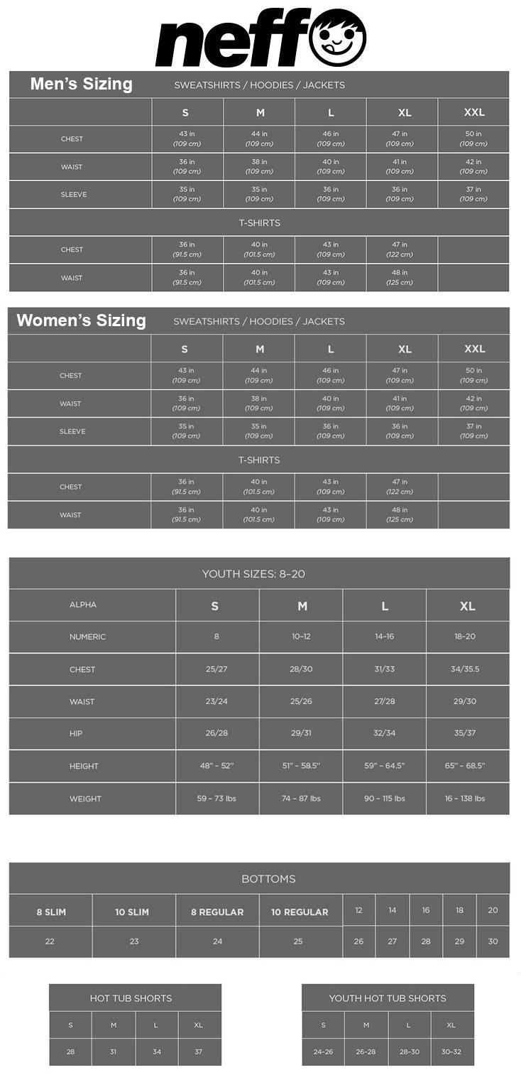 Neff Sizing Chart