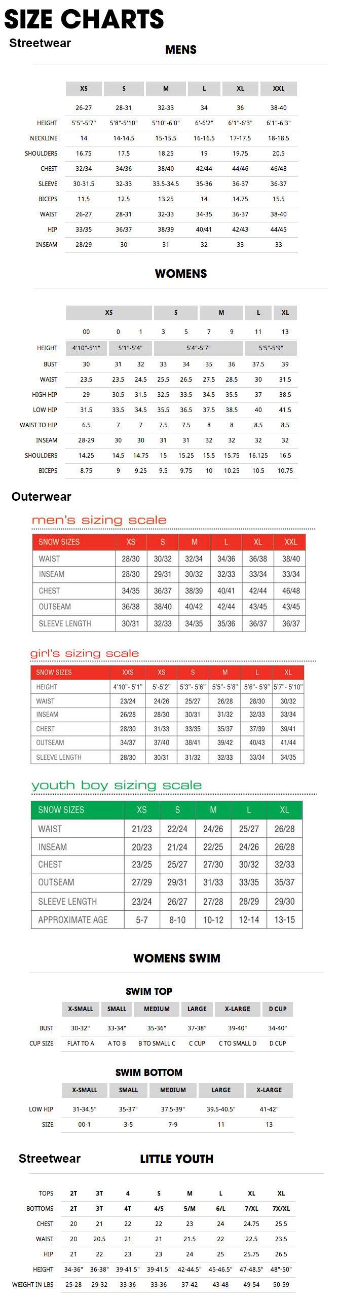 Volcom Sizing Chart