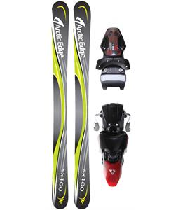 Arctic Edge SX100 SB Twin Camrock Skis w/ Fischer X 13 Ski Bindings Black/Red