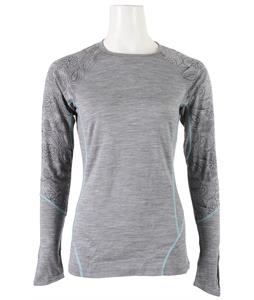 Smartwool NTS Light 195 Printed Crew Baselayer Top Silver Grey Heather