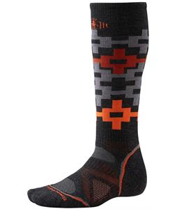 Smartwool PhD Snowboard Medium Pattern Socks Charcoal/Orange