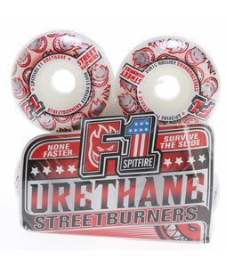 Spitfire F1 Urethane Streetburners Skateboard Wheels White/Red 51mm