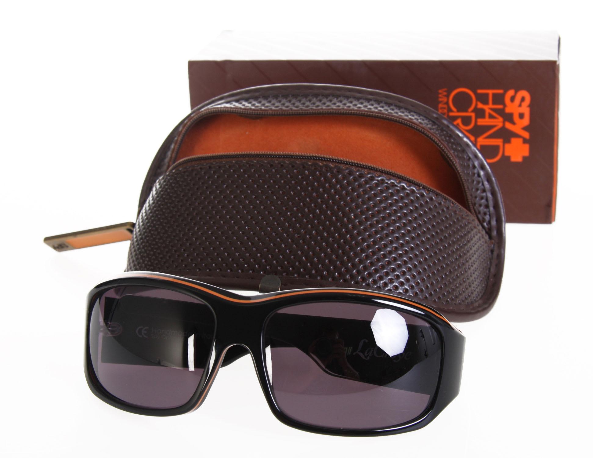 7ee96788c1 Spy Lacrosse Sunglasses Black Orange Pinstripe Grey Lens on PopScreen