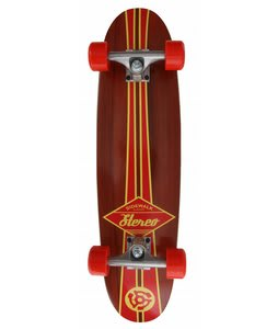 Stereo Sidewalk Surfer Longboard Skateboard Complete Red/Wood