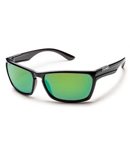 Suncloud Cutout Sunglasses Black/Green Mirror Polarized Lens
