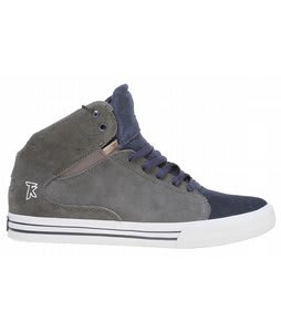 Supra Society Mid Skate Shoes Grey/Blue Suede