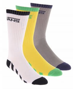 Vans Striped Crew Socks Grey/White/Yellow (3 Pack)