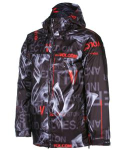 Volcom Cross Stone Insulated Snowboard Jacket Text Smoke