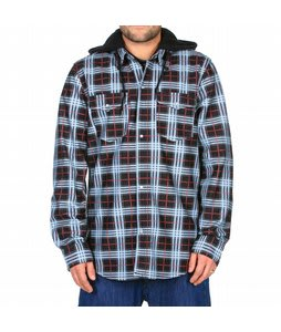 Volcom Redding Flannel Hoodie Lock Out Plaid Black