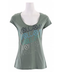 Volcom Spray And Repeat Organic Scoop V T-Shirt Myrtle Green