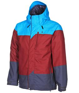 Volcom Three's Insulated Snowboard Jacket Maroon