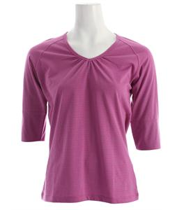 White Sierra Sunlit Stripey 3/4 Sleeve T-Shirt Rose Violet/Wistera