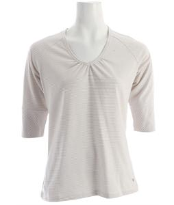 White Sierra Sunlit Stripey 3/4 Sleeve T-Shirt White/Stone