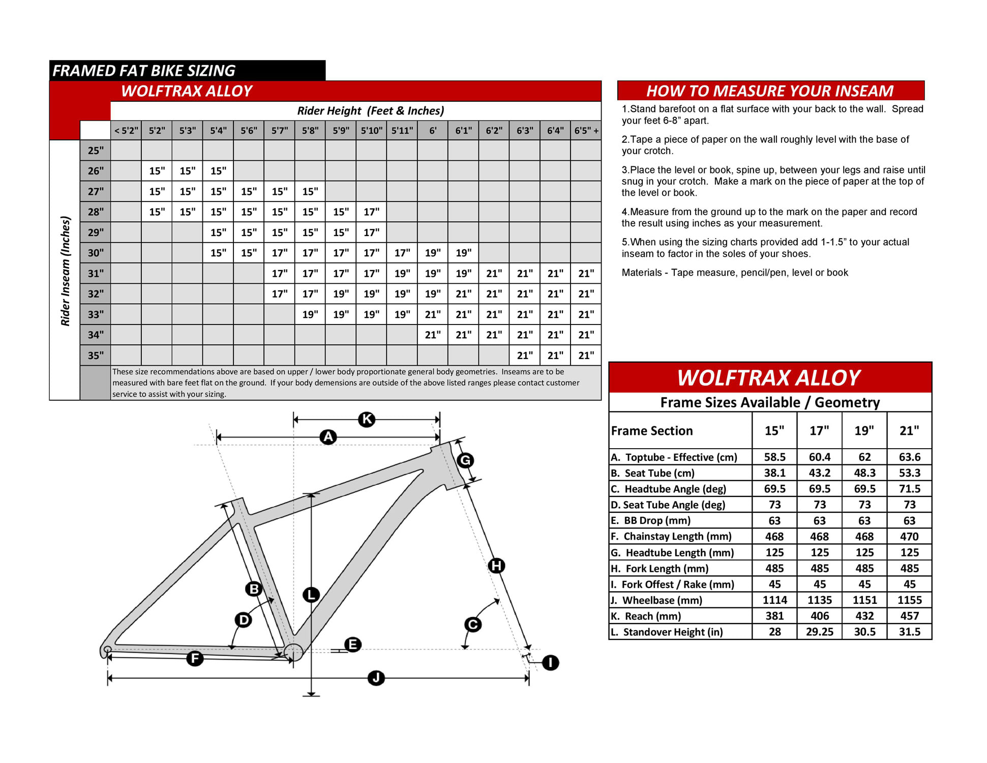Wolftrax Alloy Fat Bike Geometry Specs