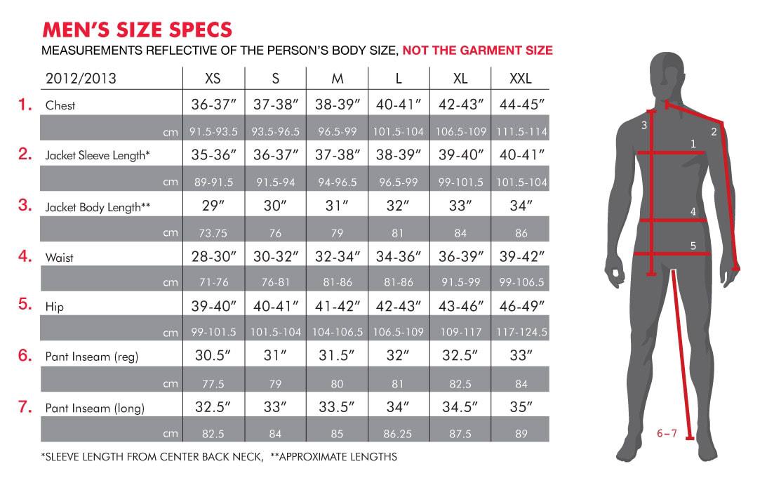686 Men's Sizing Chart