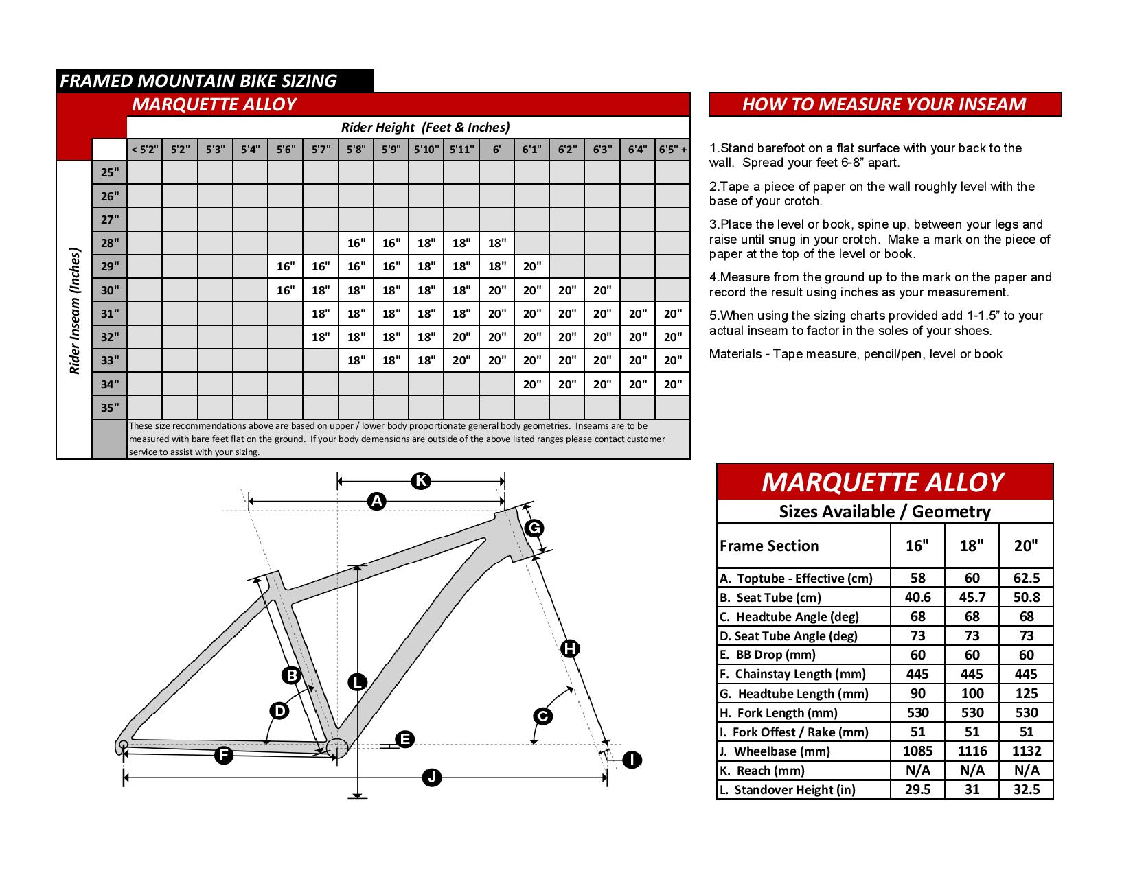 Marquette Alloy Bike Geometry Specs