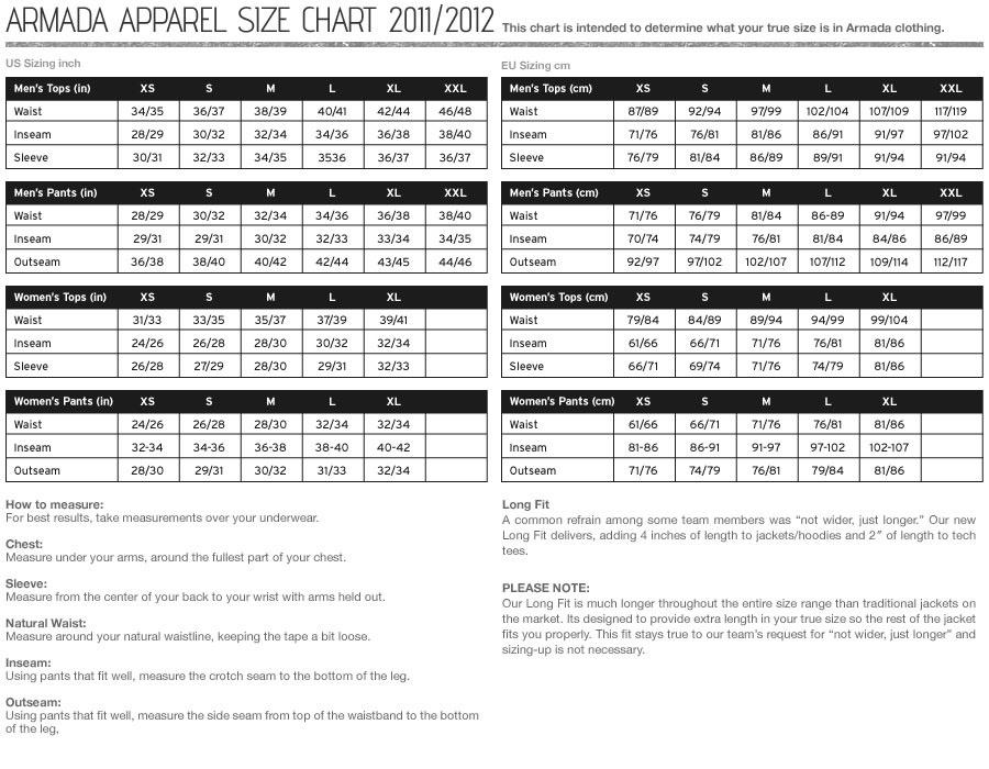 Armada Size Chart