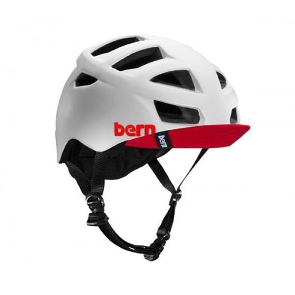 Bern Allston Bike Helmet Gloss White W / Visor U.S.A. & Canada