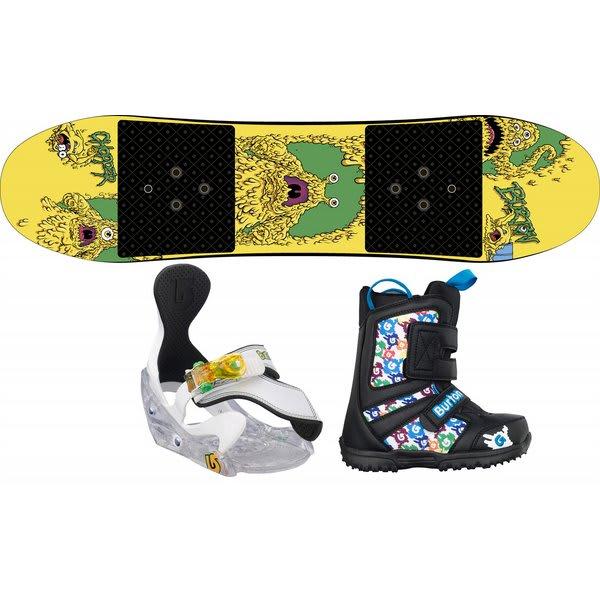 Burton Chopper Snowboard W / Burton Grom Boots Black / White / Multi & Burton Grom Bindings White U.S.A. & Canada