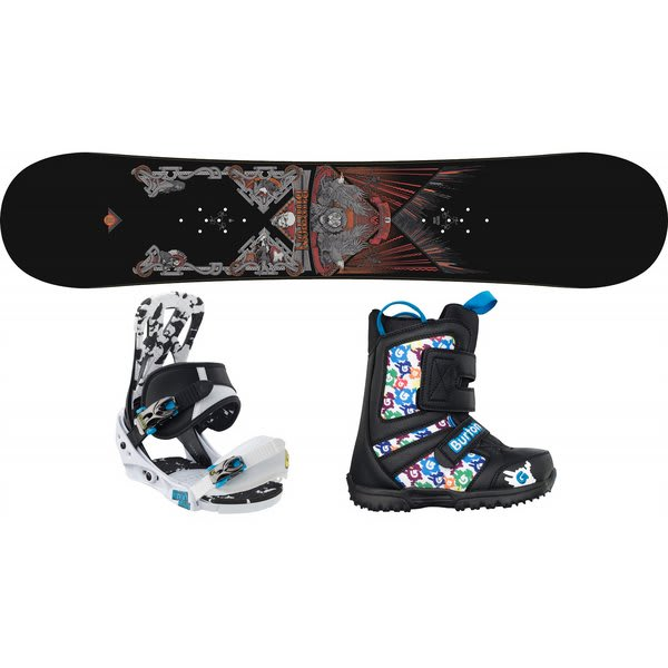 Burton Twc Smalls Snowboard W / Burton Grom Boots Black / White / Multi & Burton Mission Smalls Bindings Black / White U.S.A. & Canada