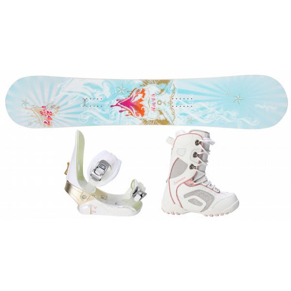 Twenty Four / Seven Fawn Snowboard W / Lamar Force Boots White / Grey & Morrow Lotus Bindings White U.S.A. & Canada