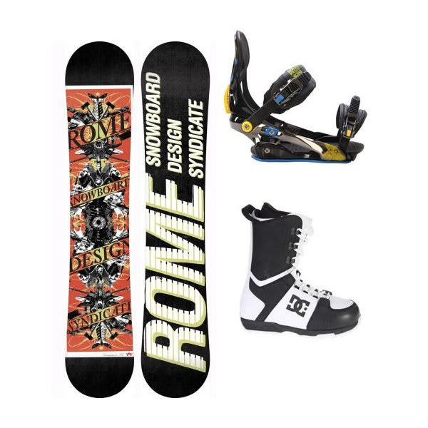 Rome Postermania Snowboard W / Dc Rogan Boots Black White & Rome S90 Bindings Blue / Yellow U.S.A. & Canada