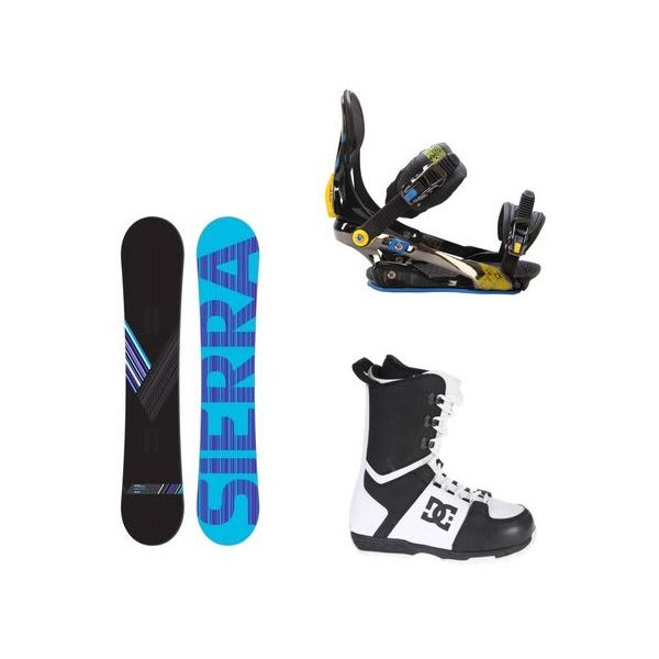 Sierra Reverse Crew Snowboard W / Dc Rogan Boots Black White & Rome S90 Bindings Blue / Yellow U.S.A. & Canada