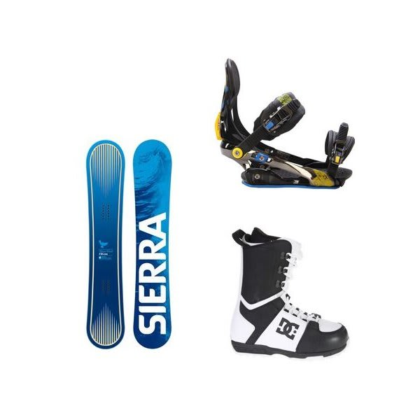 Sierra Bluebird Snowboard W / Dc Rogan Boots Black White & Rome S90 Bindings Blue / Yellow U.S.A. & Canada