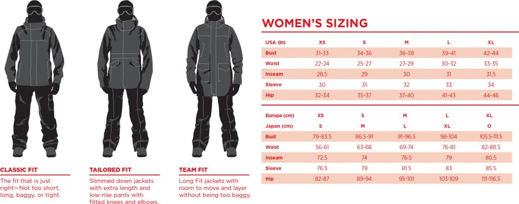 Bonfire Women's Size Chart