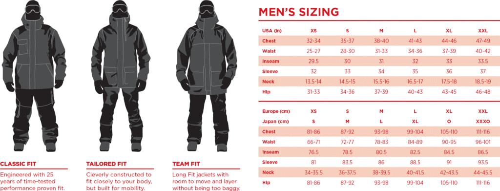 Bonfire Men's Size Chart