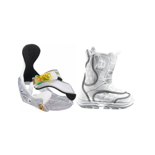 Burton Emerald Smalls Snowboard Boots White / Grey W / Burton Grom Bindings White U.S.A. & Canada