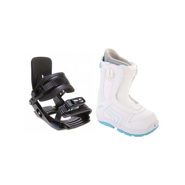 Burton Emerald Smalls Snowboard Boots White / Light Blue W / Salomon Team Bindings Black U.S.A. & Canada
