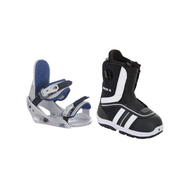 Burton Ruler Smalls Snowboard Boots Black / White W / Burton Freestyle Jr Bindings Lt Grey U.S.A. & Canada