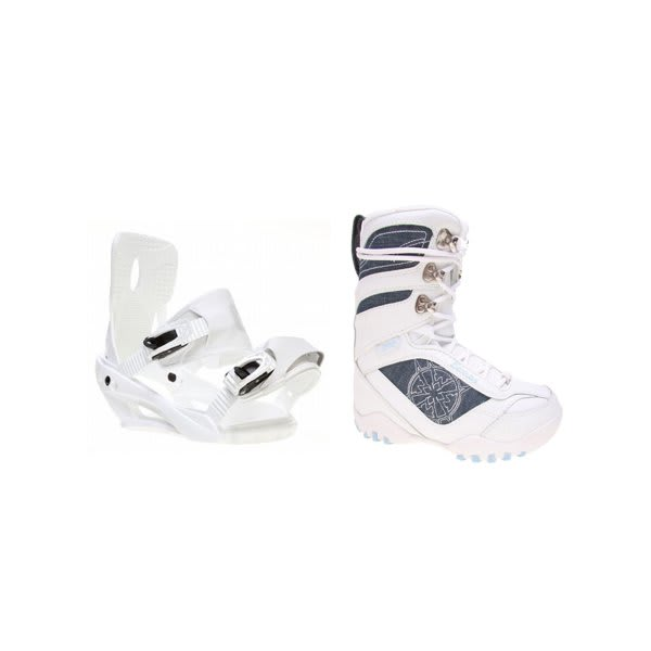 Lamar Justice Snowboard Boots White W / Sapient Zeus Bindings White U.S.A. & Canada