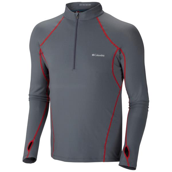 Columbia Midweight 1 / 2 Zip Baselayer Top Graphite / Bright Red Stitch U.S.A. & Canada