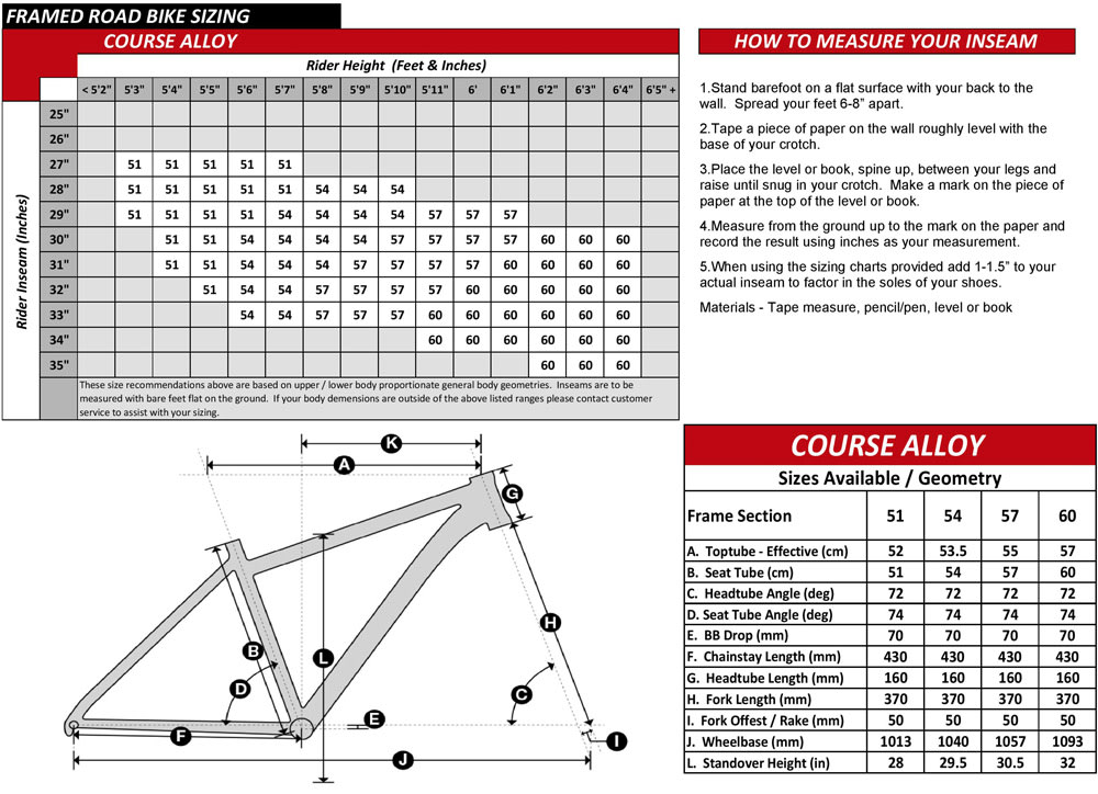 Course Alloy Bike Geometry Specs