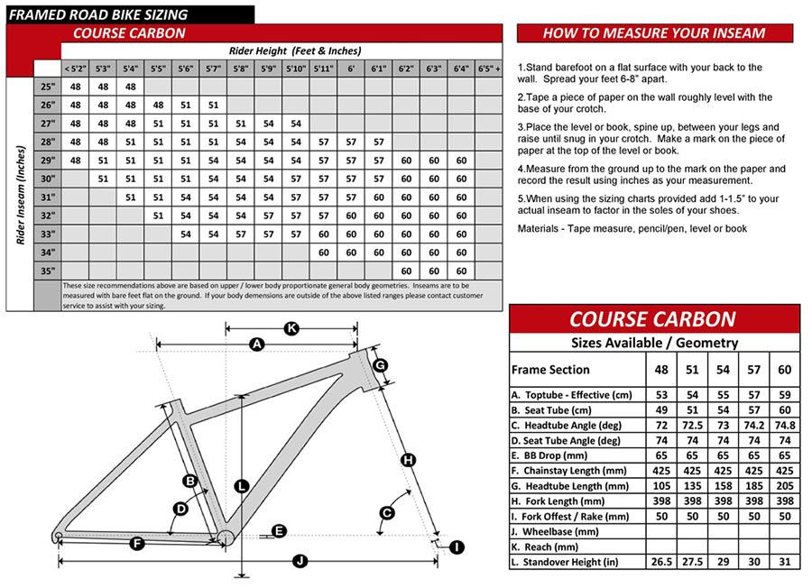 Course Carbon Bike Geometry Specs