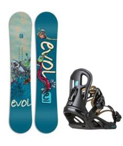 Evol White Wave Snowboard w/ Logo Bindings