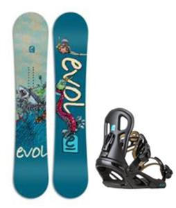 Evol White Wave Wide Snowboard w/ Logo Bindings