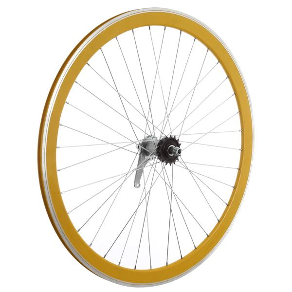 Framed Deep V Rear Bike Wheel Yellow 700C U.S.A. & Canada