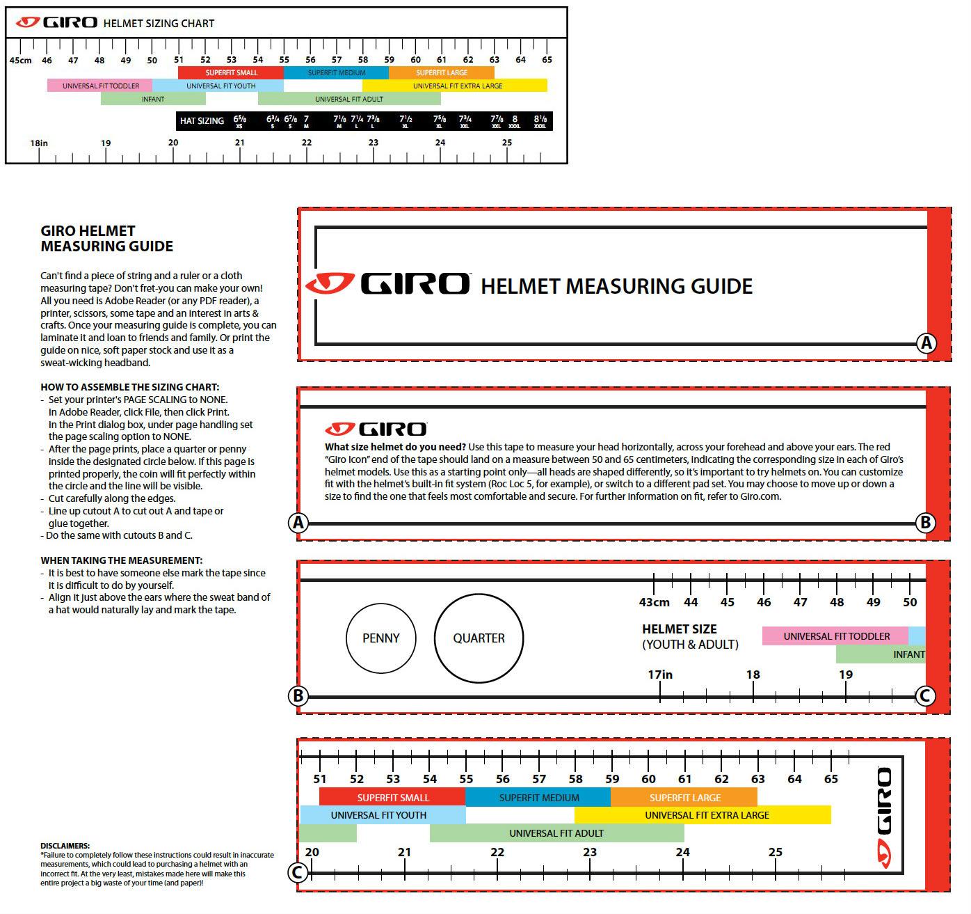 Giro Size Chart
